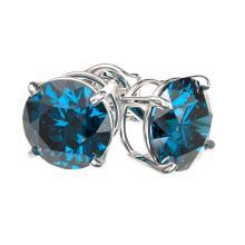 Lot 6068: 2 ctw Intense Blue Diamond Stud Earrings 10K White Gold - REF-222A2V - SKU:33086
