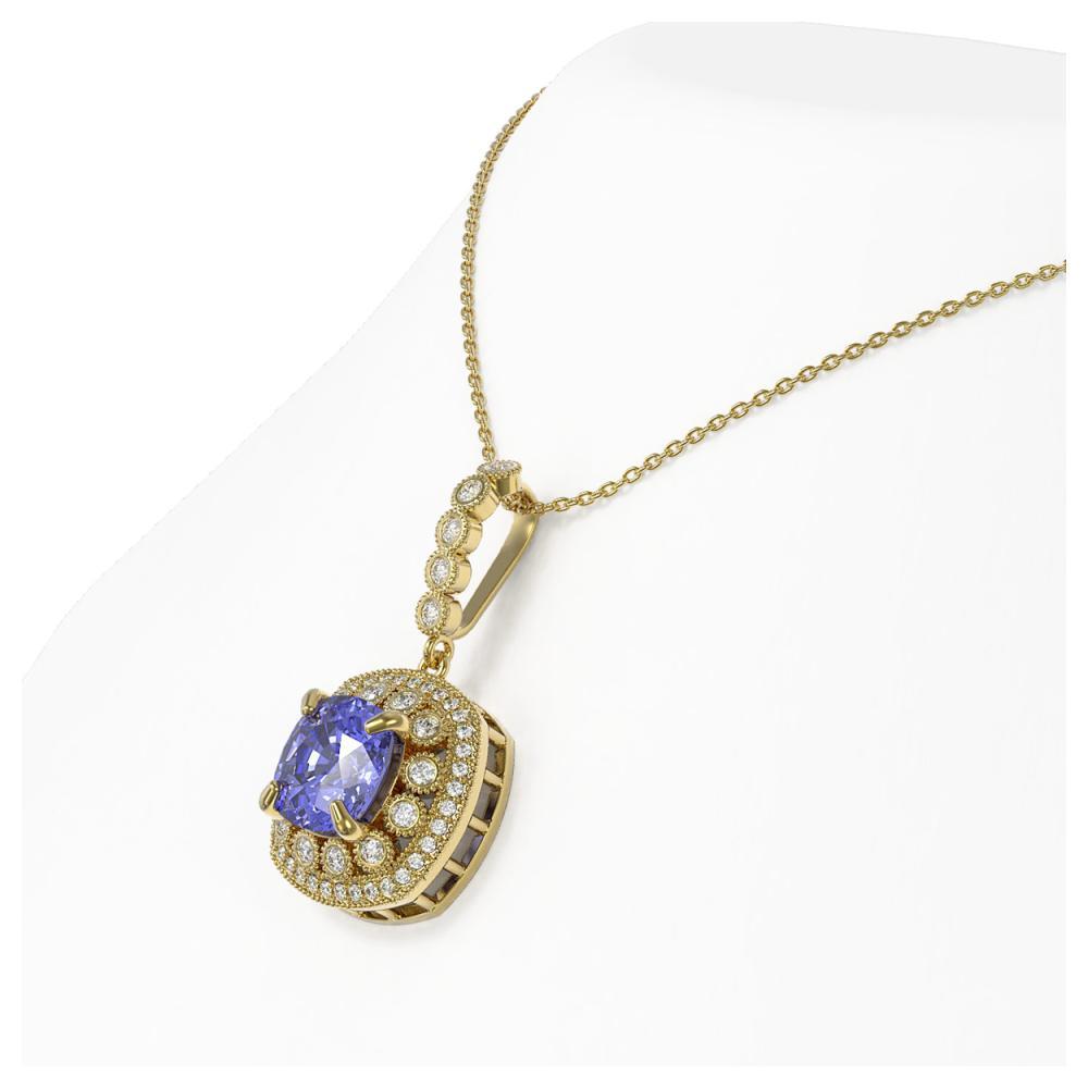 Lot 6117: 7.19 ctw Tanzanite & Diamond Necklace 14K Yellow Gold - REF-234V9Y - SKU:44011