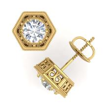 Lot 6142: 1.07 ctw VS/SI Diamond Solitaire Art Deco Stud Earrings 18K Yellow Gold - REF-190X9R - SKU:36901