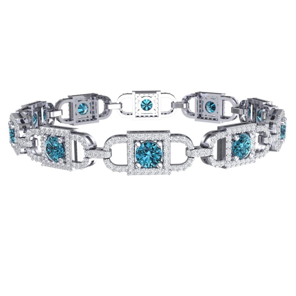 Lot 6143: 8 ctw SI/I Intense Blue And Diamond Bracelet 18K White Gold - REF-673N5A - SKU:40142