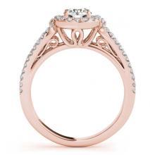 Lot 6148: 1.11 ctw VS/SI Diamond 2pc Wedding Set Halo 14K Rose Gold - REF-108V2Y - SKU:30871