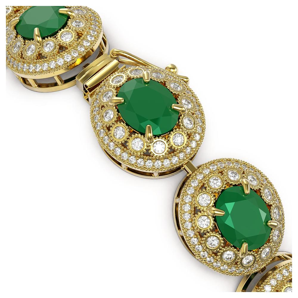 Lot 6198: 49.17 ctw Emerald & Diamond Bracelet 14K Yellow Gold - REF-1404F4N - SKU:43711