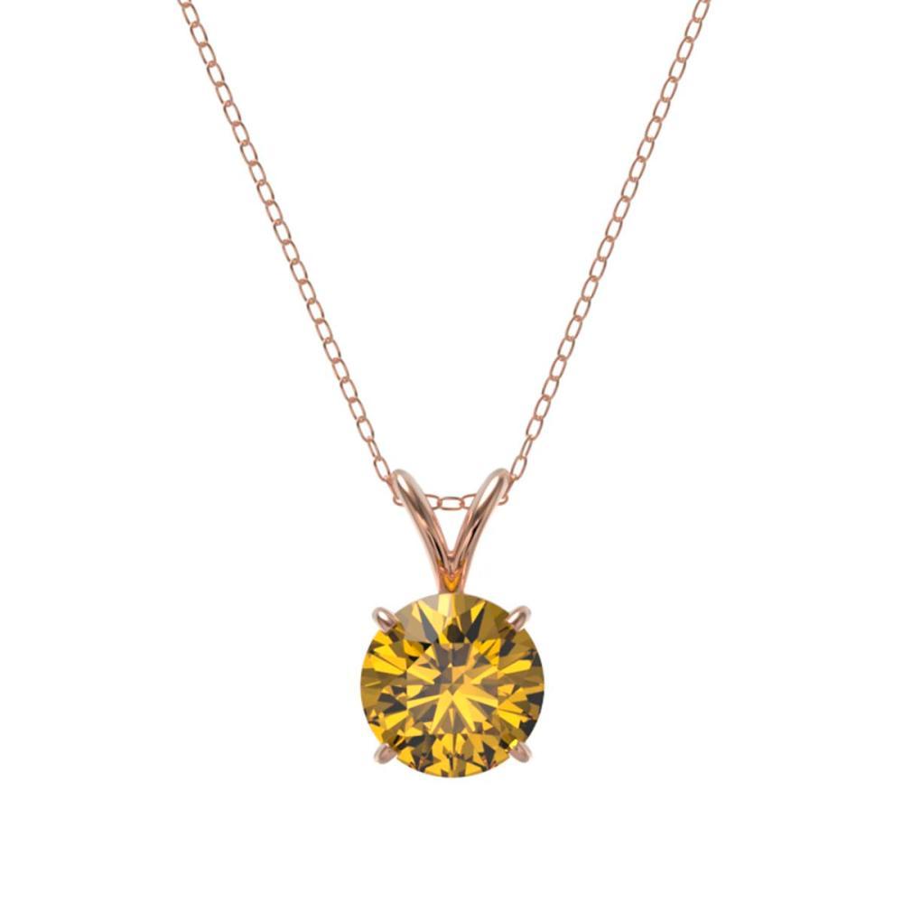 Lot 6200: 1.27 ctw Intense Yellow Diamond Necklace 10K Rose Gold - REF-240N2A - SKU:36795