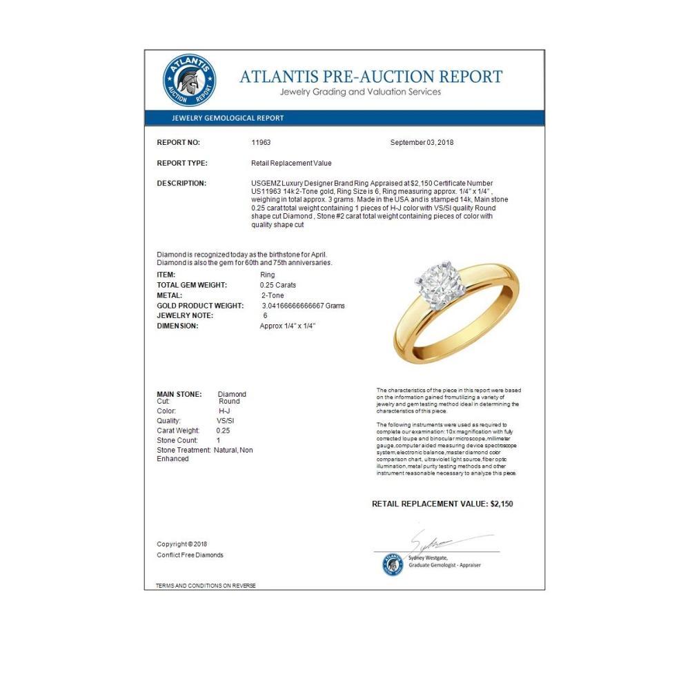 Lot 6045: 0.25 ctw VS/SI Diamond Ring 14K 2-Tone Gold - REF-45M9F - SKU:11963