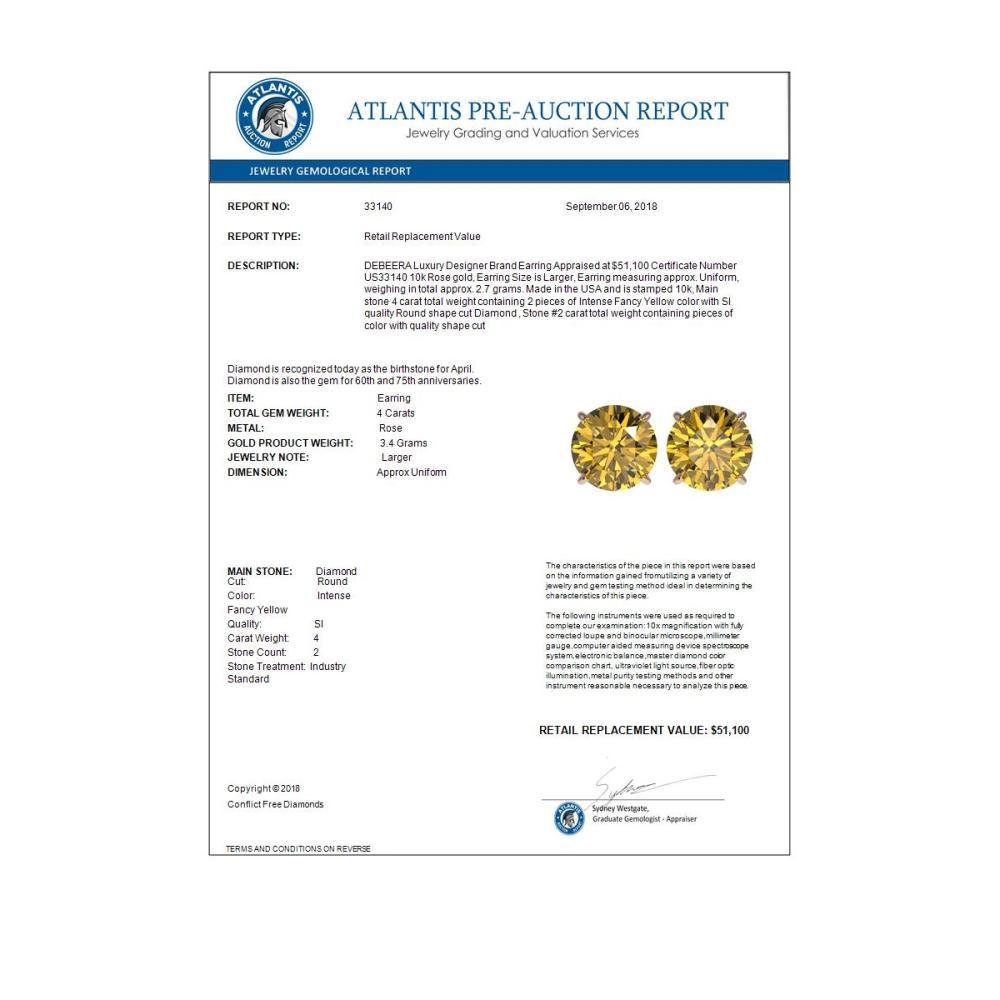 Lot 6062: 4 ctw Intense Yellow Diamond Stud Earrings 10K Rose Gold - REF-1095K2W - SKU:33140