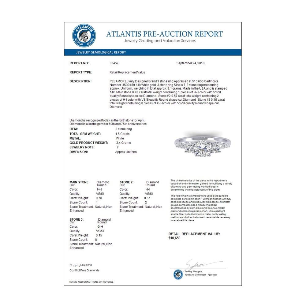 Lot 6096: 1.50 ctw VS/SI Diamond Art Deco 3 Stone Ring 14K White Gold - REF-215K3W - SKU:30459