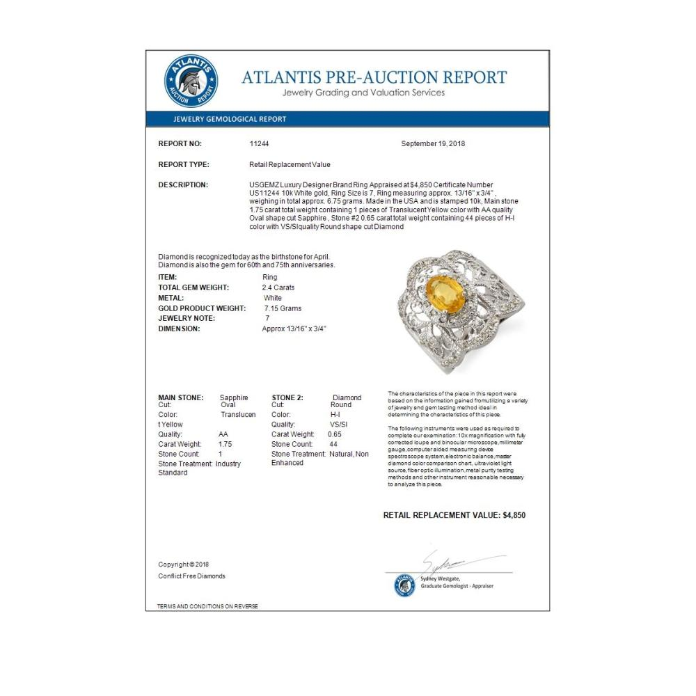 Lot 6098: 2.40 ctw Yellow Sapphire & Diamond Ring 10K White Gold - REF-67N6A - SKU:11244