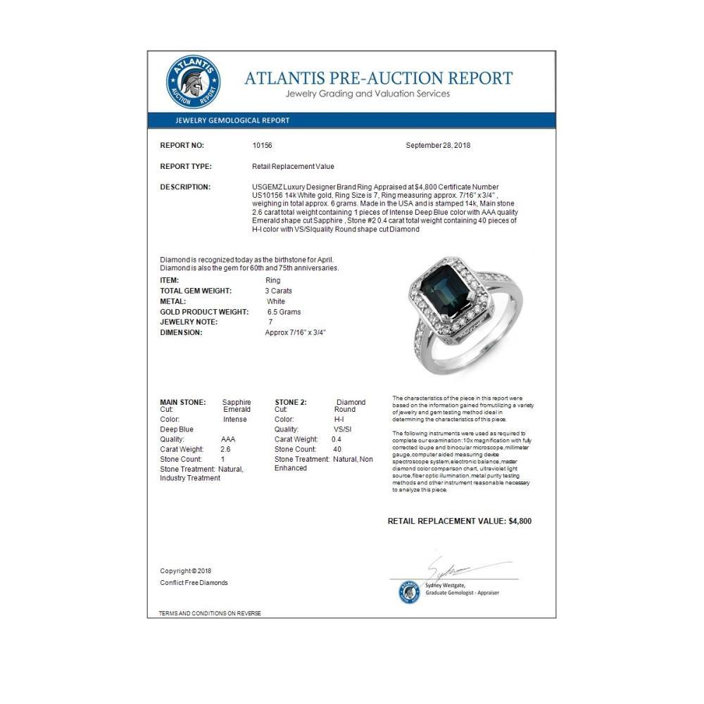 Lot 6106: 3.0 ctw Blue Sapphire & Diamond Ring 14K White Gold - REF-72Y7X - SKU:10156