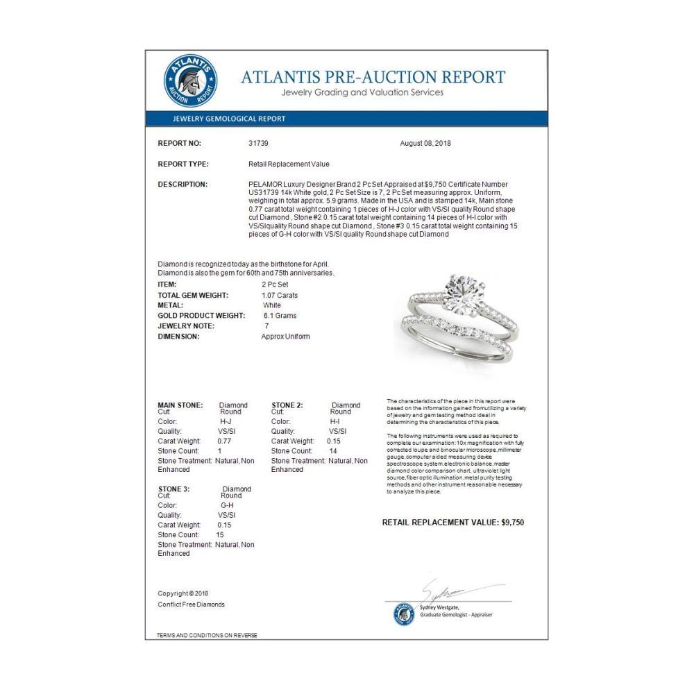 Lot 6137: 1.07 ctw VS/SI Diamond 2pc Wedding Set 14K White Gold - REF-147A8V - SKU:31739