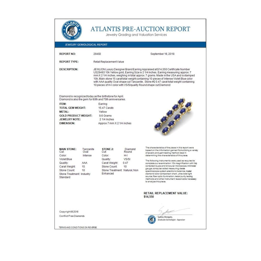 Lot 6177: 15.47 ctw Tanzanite & VS/SI Diamond Earrings 10K Yellow Gold - REF-189X3R - SKU:29493