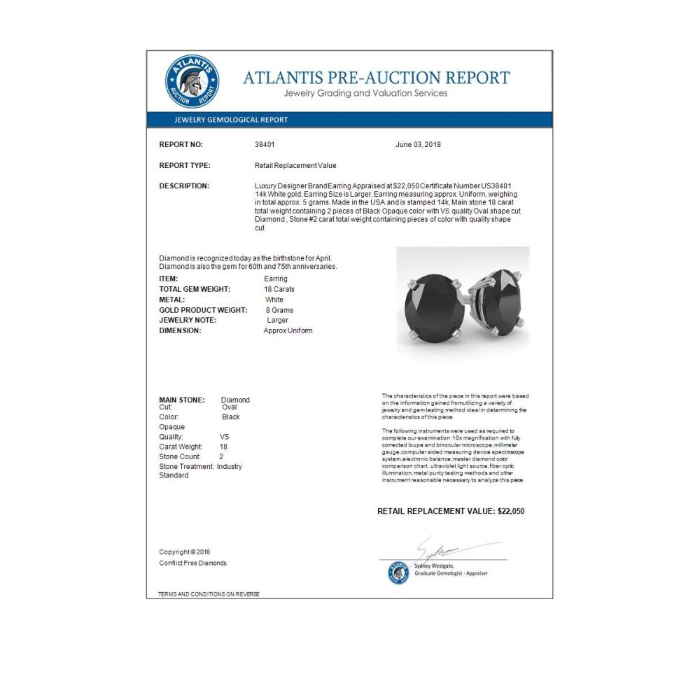 Lot 6183: 18.0 ctw Oval Black Diamond Stud Earrings 14K White Gold - REF-300H7M - SKU:38401