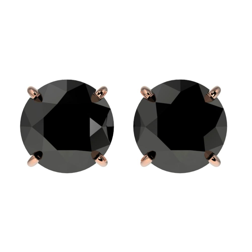 2 Ctw Fancy Black Diamond Solitaire Stud Earrings 10k Rose G
