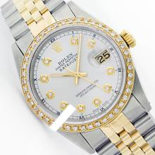 Rolex Men's Two Tone 14K Gold/SS, QuickSet, Diamond Dial & Diamond Bezel - REF-474W5K