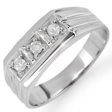 0.20 CTW Certified VS/SI Diamond Men's Ring 18K White Gold - REF-54X5Y - 10266