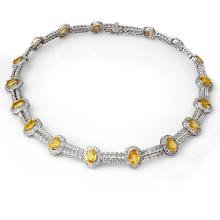 55.5 ctw Yellow Sapphire & Diamond Necklace 14K White  Gold - REF#-873M3F-10022