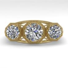 2 CTW PAST PRESENT FUTURE VS/SI DIAMOND RING 18K ART DECO Gold - REF#-421N7A-36064