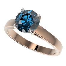 2.04 CTW Certified Intense Blue SI Diamond Solitaire Engagment Ring Gold - REF#-417V6Y-36559