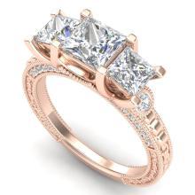 2.66 CTW PRINCESS VS/SI DIAMOND ART DECO 3 STONE RING 18K Gold - REF#-581M8F-37158