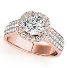 1.8 CTW Certified VS/SI Diamond Bridal Solitaire Halo Ring 18K Rose Gold Gold - REF#-435A5X-26791