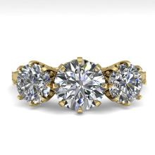 2 CTW PAST PRESENT FUTURE CERTIFIED VS/SI DIAMOND RING 18K Gold - REF#-414H2M-35776
