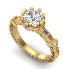 1.71 CTW VS/SI DIAMOND BRIDAL SOLITAIRE ART DECO RING 18K Gold - REF#-543W6G-37063