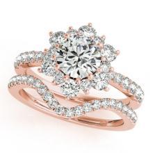 2.41 CTW Certified VS/SI Diamond 2pc Wedding Set Solitaire Halo 14K Gold - REF#-544F7V-30946