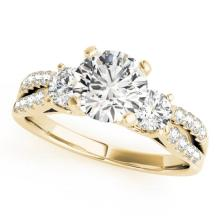 1.5 CTW Certified VS/SI Diamond 3 stone Bridal  Ring 18K Yellow Gold Gold - REF#-383Y3M-28028