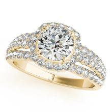 2 CTW Certified VS/SI Diamond Bridal Solitaire Halo Ring 18K Yellow Gold Gold - REF#-407N3A-26750