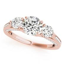 1.75 CTW Certified VS/SI Diamond 3 stone Bridal  Ring 18K Rose Gold Gold - REF#-427K3W-27991