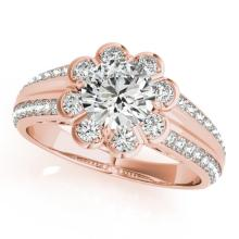 0.85 CTW Certified VS/SI Diamond Bridal Solitaire Halo Ring 18K Rose Gold Gold - REF#-121V8Y-27031