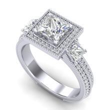 2.5 CTW PRINCESS VS/SI DIAMOND MICRO PAVE 3 STONE RING 18K Gold - REF#-527K3W-37196