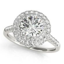 1.5 CTW Certified VS/SI Diamond Bridal Solitaire Halo Ring 18K White Gold Gold - REF#-229R5H-26452