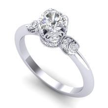 1 CTW VS/SI DIAMOND SOLITAIRE ART DECO RING 18K Gold - REF#-157W5G-36851