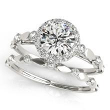 1.11 CTW Certified VS/SI Diamond 2pc Wedding Set Solitaire Halo 14K Gold - REF#-197V3Y-30858