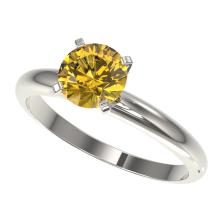 1.25 CTW Certified Intense Yellow SI Diamond Solitaire Ring Gold - REF#-179M3R-32911