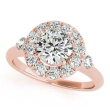 1.5 CTW Certified VS/SI Diamond Bridal Solitaire Halo Ring 18K Rose Gold Gold - REF#-404N4A-26312