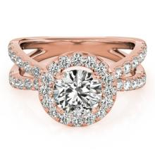 2.01 CTW Certified VS/SI Diamond Bridal Solitaire Halo Ring 18K Rose Gold Gold - REF#-424V7Y-26770