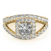 1.85 CTW Certified VS/SI Princess Diamond Bridal Solitaire Halo Ring 18K Gold - REF#-261X3T-27197