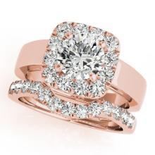 2.05 CTW Certified VS/SI Diamond 2pc Wedding Set Solitaire Halo 14K Gold - REF#-439T8K-31230