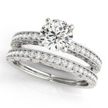 1.38 CTW Certified VS/SI Diamond Solitaire 2pc Wedding Set Antique Gold - REF#-376K4W-31436