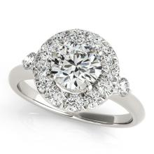 1.25 CTW Certified VS/SI Diamond Bridal Solitaire Halo Ring 18K White Gold - REF#-222Y2M-26308