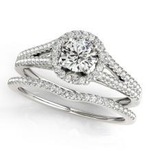 0.96 CTW Certified VS/SI Diamond 2pc Wedding Set Solitaire Halo 14K Gold - REF#-134R9H-31040
