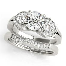 1.55 CTW Certified VS/SI Diamond 3 stone 2pc Wedding Set  14K Gold - REF#-398N4A-32015