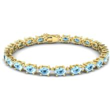 15.9 CTW AQUAMARINE & VS/SI CERTIFIED DIAMOND ETERNITY BRACELET Gold - REF#-165M3F-29362