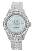 Rolex Men's Stainless Steel, QuickSet, Diamond Dial & Diamond Bezel - REF-485Z5Y
