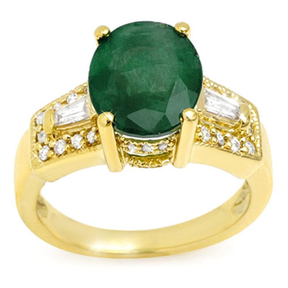 4.55 CTW Emerald & Diamond Ring 10K Yellow Gold - REF-94R9H - SKU:10956
