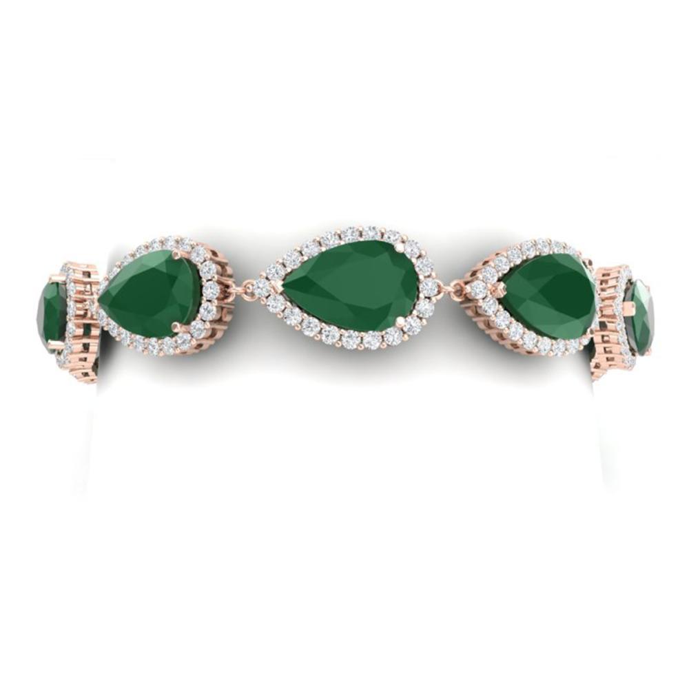 42 CTW Royalty Emerald & VS Diamond Bracelet 18K Gold - REF-636X4R - SKU:38857