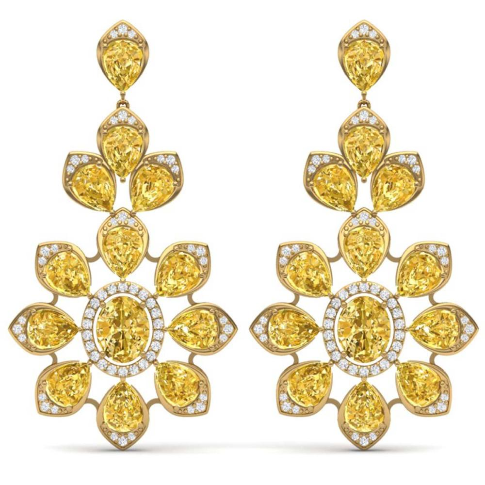 48.67 CTW Canary Citrine & VS Diamond Earrings 18K Gold - REF-381M8F - SKU:39059