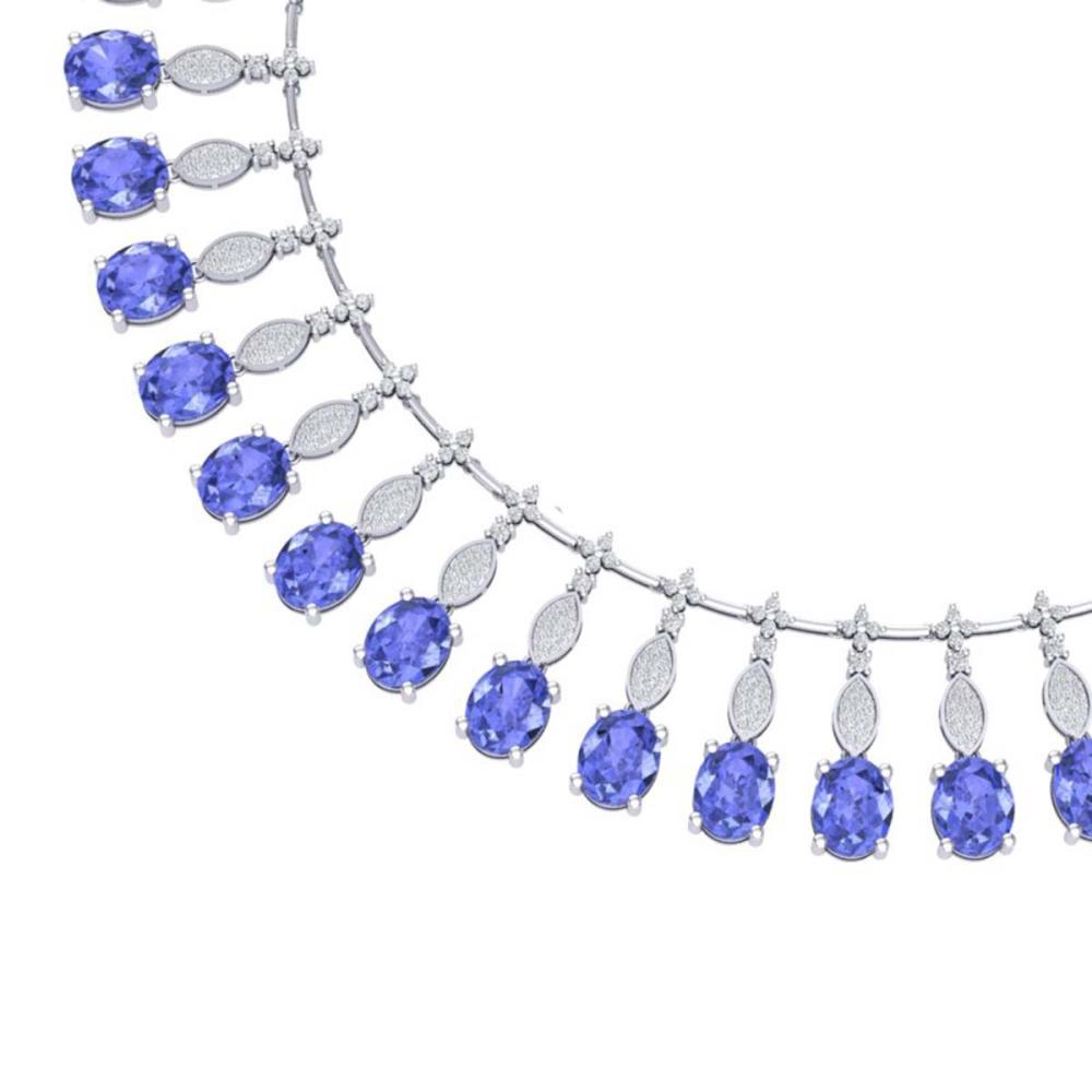 57.15 CTW Royalty Tanzanite & VS Diamond Necklace 18K Gold - REF-1527N3A - SKU:39129