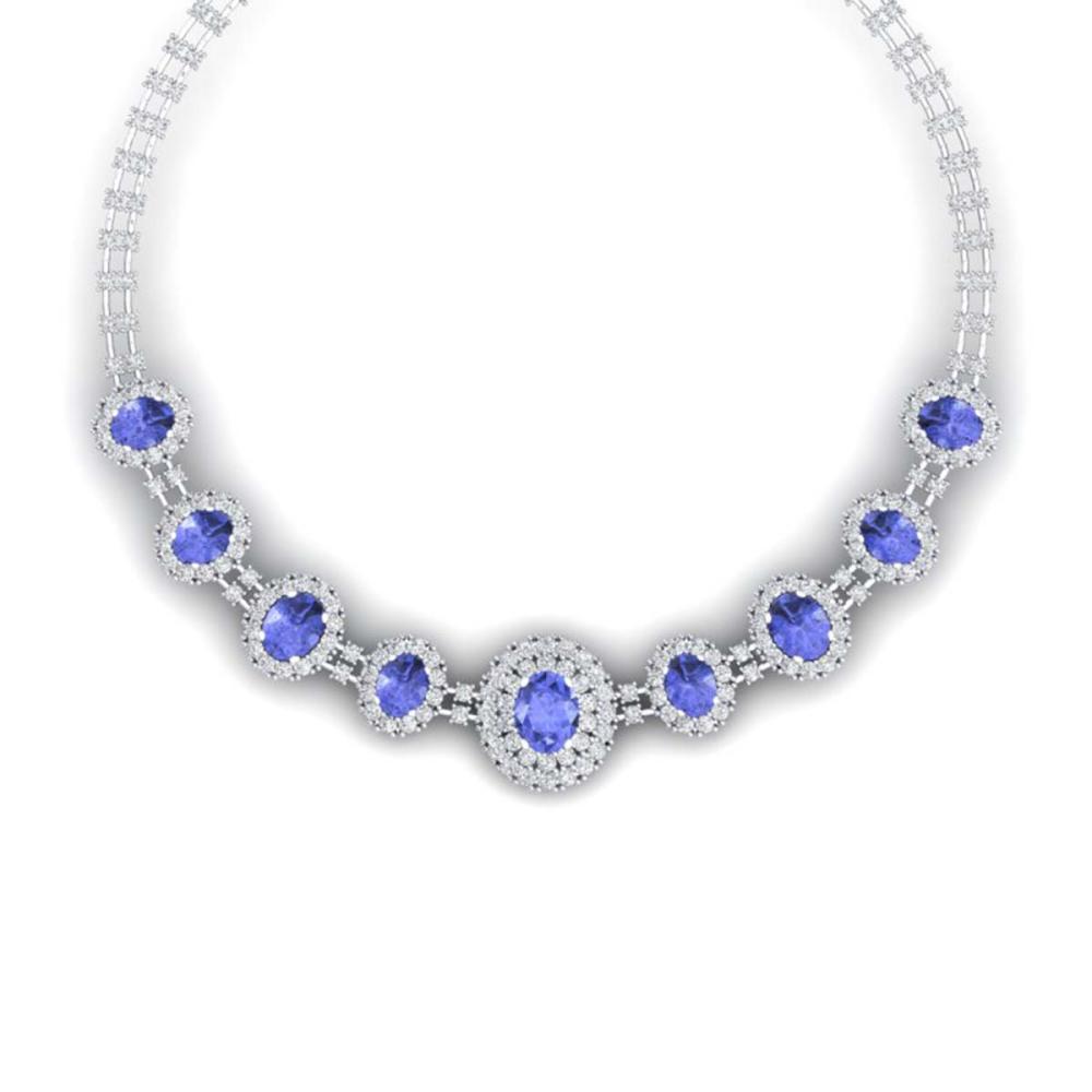 46.51 CTW Royalty Tanzanite & VS Diamond Necklace 18K Gold - REF-1727V3Y - SKU:38799